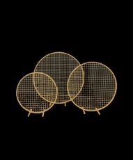 Flower Stand - Hoop with Mesh - Gold