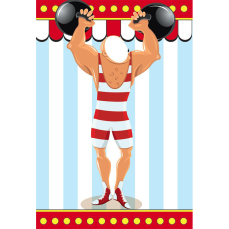 Themed Backdrops Small - Circus Theme (light): Strongman