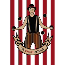 Themed Backdrops Small - Circus Theme (dark): Juggling Man