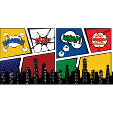 Themed Backdrops Large - Super Hero BAM