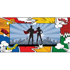 Themed Backdrops Large - Super Hero Male and Female Caped